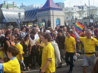 Lib Dems marching at Brighton Pride in 2010