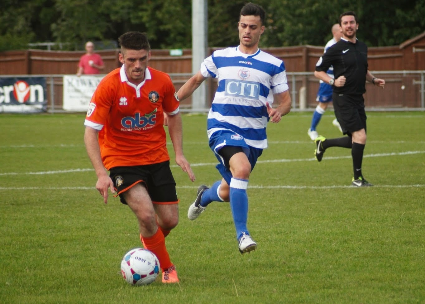 Openly gay footballer Liam Davis pictured playing football
