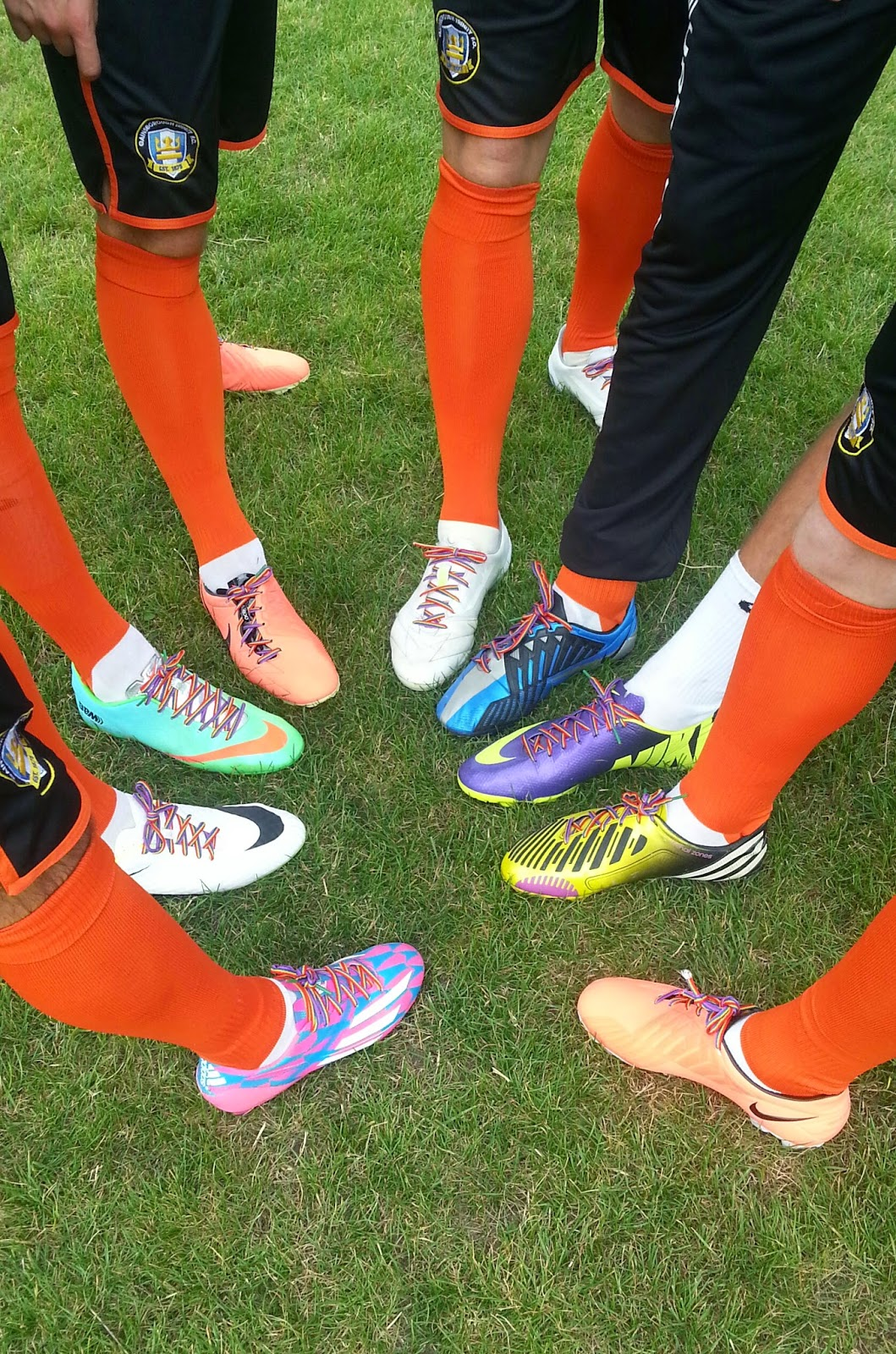 Gainsborough Trinty players pictured with rainbow laces on their boots